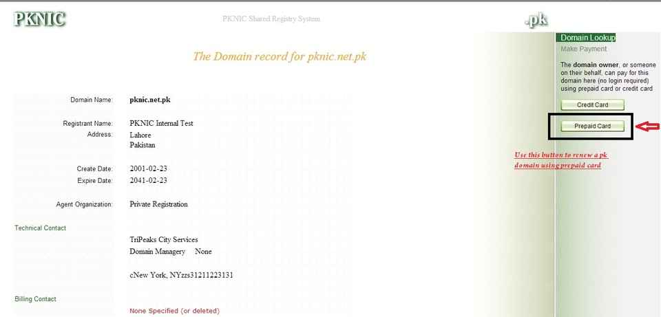 how to use pknic card to renew .pk domain name